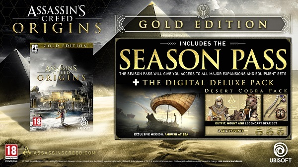 Assassin's Creed Origins Gold Edition Uplay CD Key Produktkode kode
